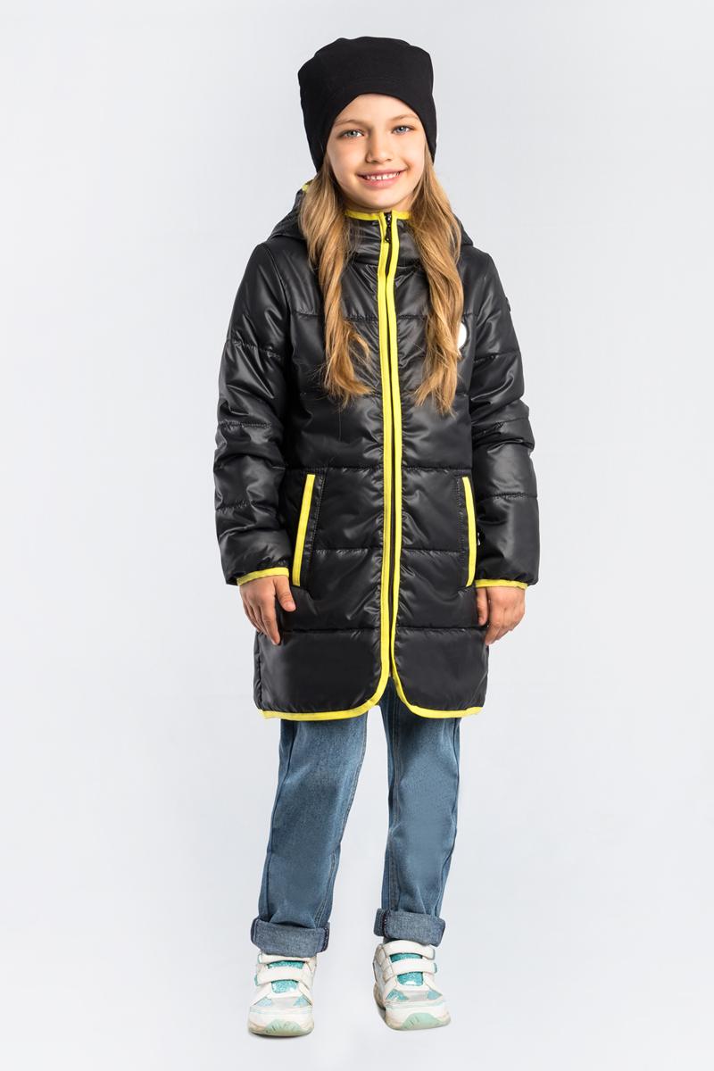 Пальто для девочки Boom!, цвет: черный. 80008_BOG. Размер 170