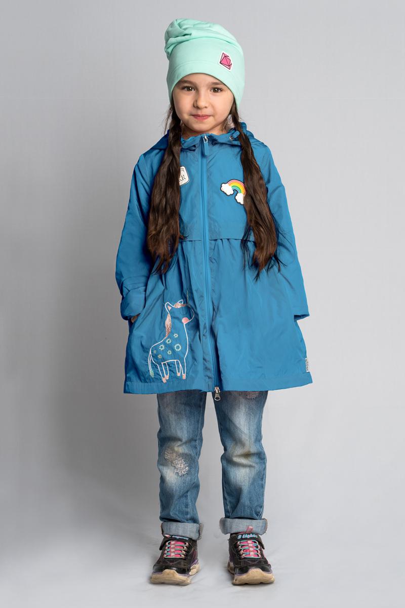 Плащ для девочки Boom!, цвет: голубой. 80009_BOG. Размер 11680009_BOGЛегкий плащ для девочки от Boom! выполнен из нейлона на хлопковой подкладке, идеально подходит для прогулки в теплое время года. Нежные цвета, женственный силуэт, яркие нашивки и вышивка единорог - все, чтобы вещь стала самой любимой в гардеробе маленьких модниц. Модель с длинными рукавами и капюшоном застегивается на молнию. По бокам плащ дополнен прорезными карманами на молниях.