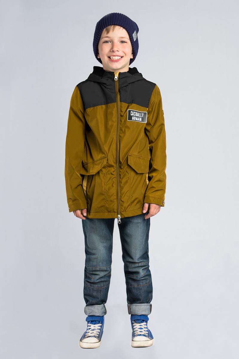 Куртка для мальчика Boom!, цвет: хаки. 80018_BOB. Размер 15880018_BOB