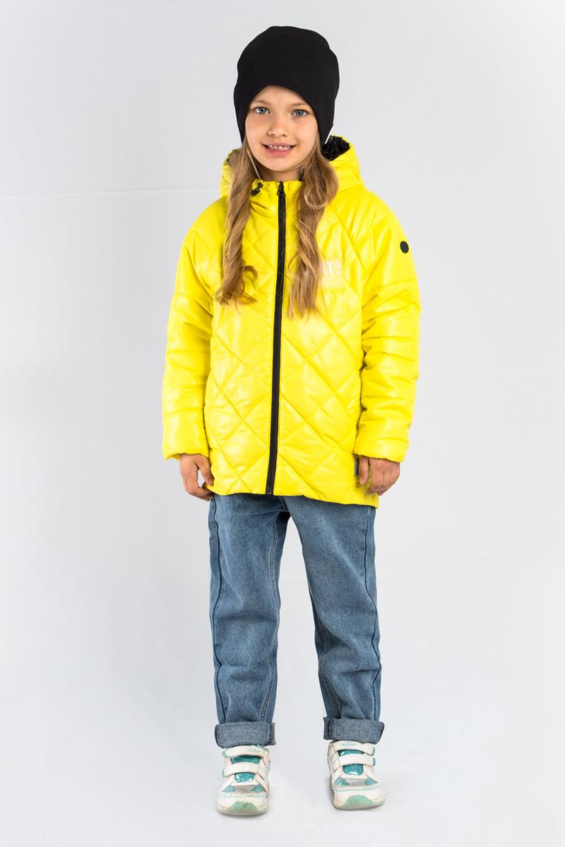 Куртка для девочки Boom!, цвет: желтый. 80027_BOG. Размер 13480027_BOGЯркая, лёгкая и тёплая куртка для девочки Boom! выполнена из высококачественного материала. Модель с капюшоном застегивается на застежку-молнию.