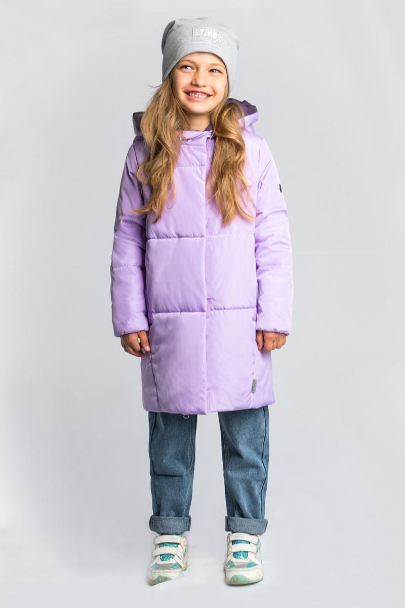 Пальто для девочки Boom!, цвет: сиреневый. 80030_BOG. Размер 13480030_BOGУтепленное пальто Boom! овального силуэта выполнено из практичной износостойкой ткани твил. Особенность модели - объёмный капюшон-воротник.