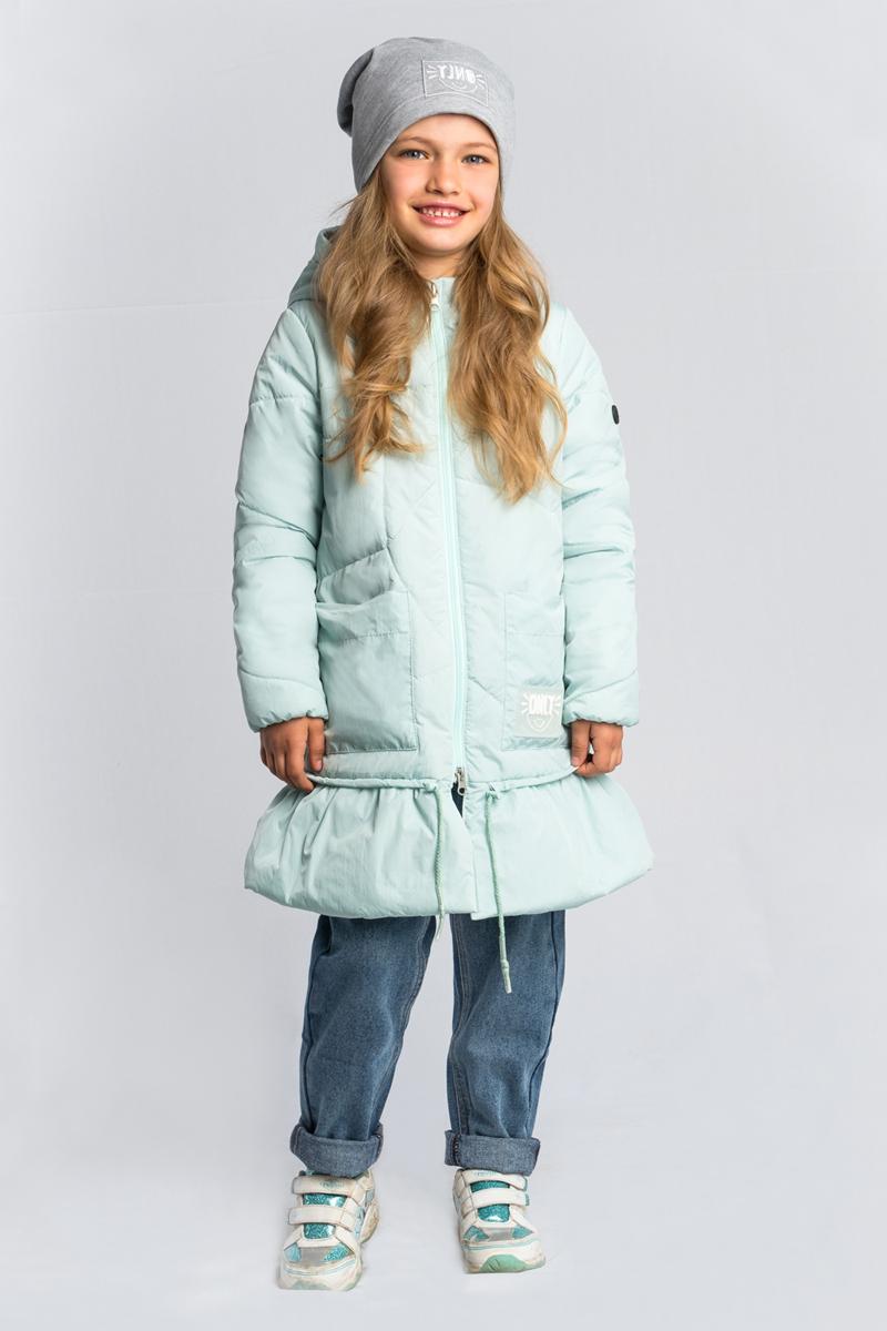 Пальто для девочки Boom!, цвет: зеленый. 80031_BOG. Размер 12280031_BOGПальто для девочки Boom! выполнено из высококачественного материала. Модель в оригинальном дизайне, с необычной асимметричной стёжкой, в нежном оттенке. Пальто с капюшоном застегивается на застежку-молнию.
