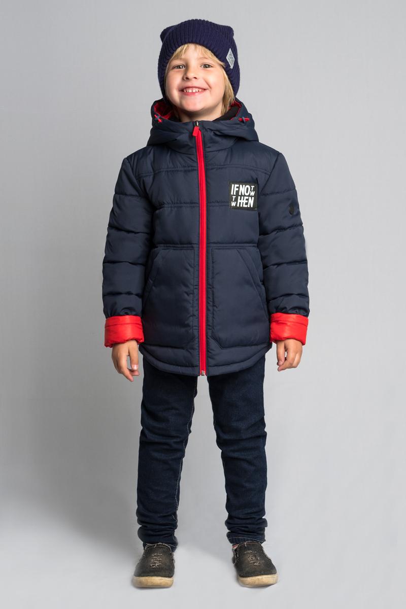 Куртка для мальчика Boom!, цвет: темно-синий. 80040_BOB. Размер 12280040_BOBКуртка для мальчика Boom! выполнена из высококачественного материала. Модель с капюшоном застегивается на застежку-молнию. Куртка дополнена двумя боковыми карманами.