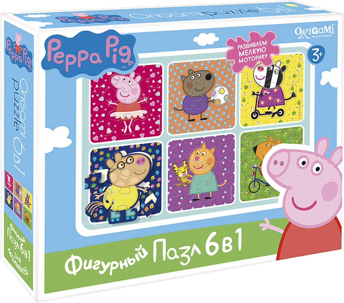 Peppa Pig Пазл для малышей Хобби 6 в 1 peppa pig пазл супер макси 24a контурный магниты подставки семья кроликов
