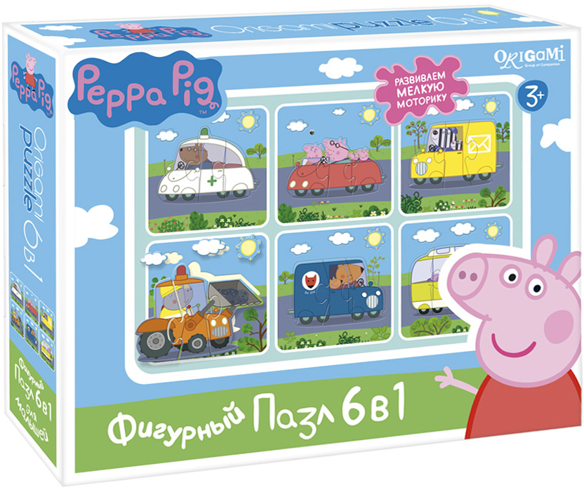 Peppa Pig Пазл для малышей Транспорт 6 в 1 пазл origami 01569 peppa pig 24эл