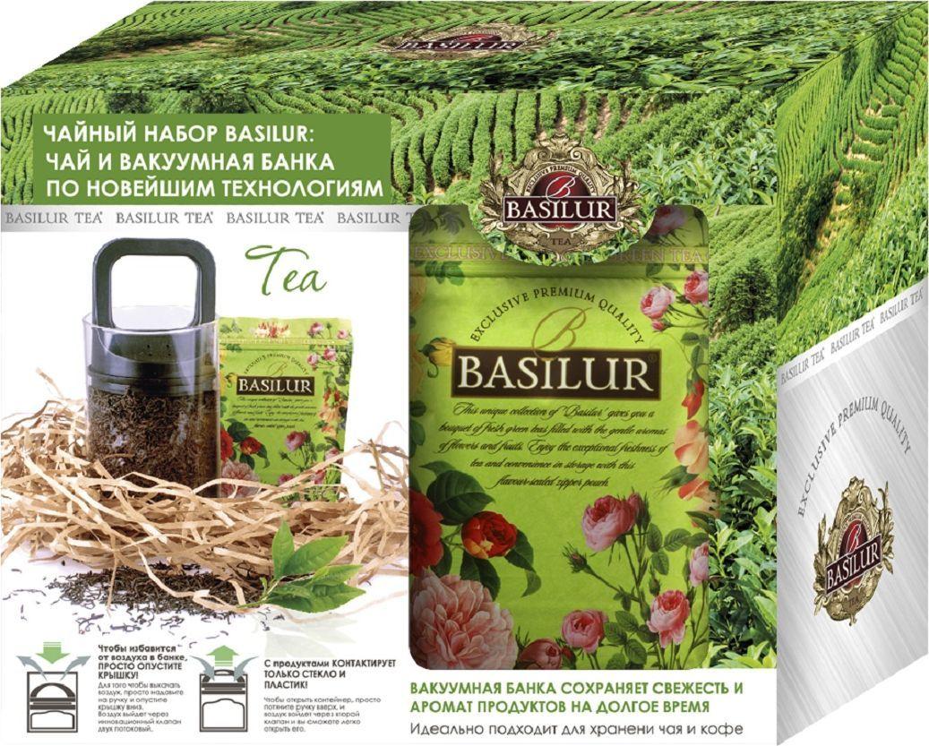 Basilur чайный набор чай зеленый и банка вакуумная, 100 г basilur чайный набор букет белое волшебство