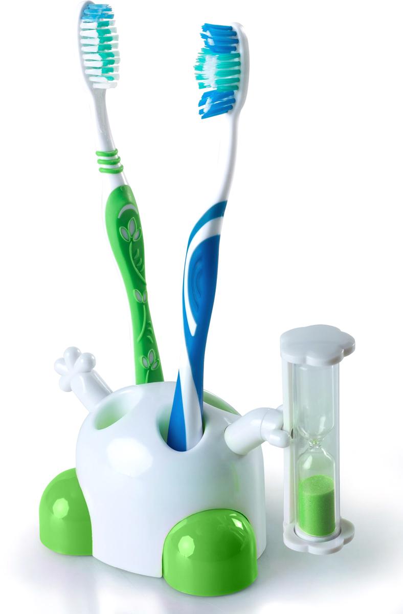 """Подставка для зубных щеток Ruges Зубки-Минутки, с песочными часами, цвет: зеленыйV-11Правильное время для чистки зубов определяется стоматологами в 3 минуты. На практике, это долго (невыносимо долго – в восприятии детей) и если время не засекать, то процедура значительно сокращается, ведь людям свойственно себя обманывать. Настенные часы в ванной редкость, за ненадобностью. Носить с собой наручные часы или телефон – приборы и механизмы могут пострадать от попадания случайной влаги. А гигиена полости рта страдает! Подставка для зубных щеток с песочными часами «Зубки-минутки» вмещает 4 зубных щетки в индивидуальные слоты и имеет песочные часы на 3 минуты. Подставка """"Зубки-минутки"""" объединяет в себе несколько функций: хранит зубные щетки, контролирует время и развлекает своим внешним видом. У Подставки """"Зубки-минутки"""" есть симпатичные ножки и ручки, одна из которых держит песочные часы. Она легко может стать Зубной Феей для детей и взрослых! Вес: 66 гр. Вмещает до 4 зубных щеток. Часы рассчитаны на 3 минуты. Материал: ПВХ; пластик. Инструкция на русском языке."""
