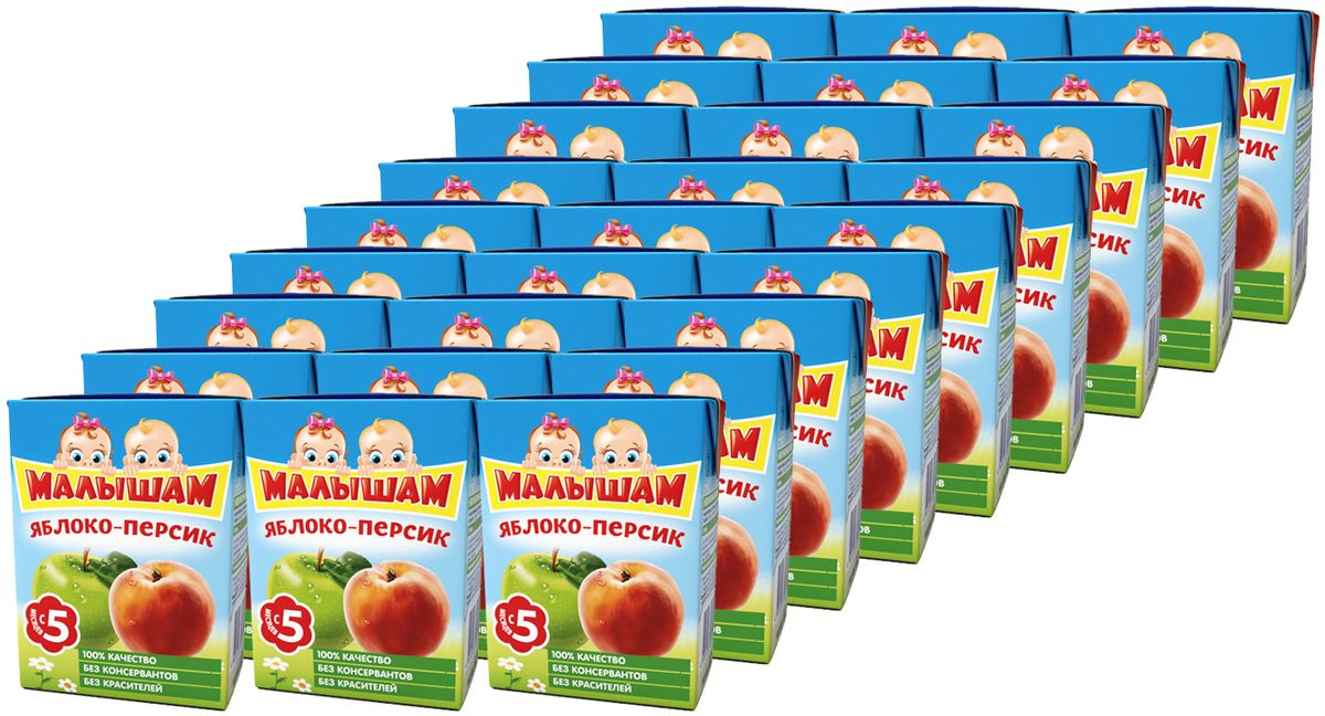 ФрутоНяня Малышам нектар из яблока и персиков с 5 месяцев, 27 шт по 200 мл фрутоняня малышам нектар из яблок и груш с 5 месяцев 27 шт по 125 мл