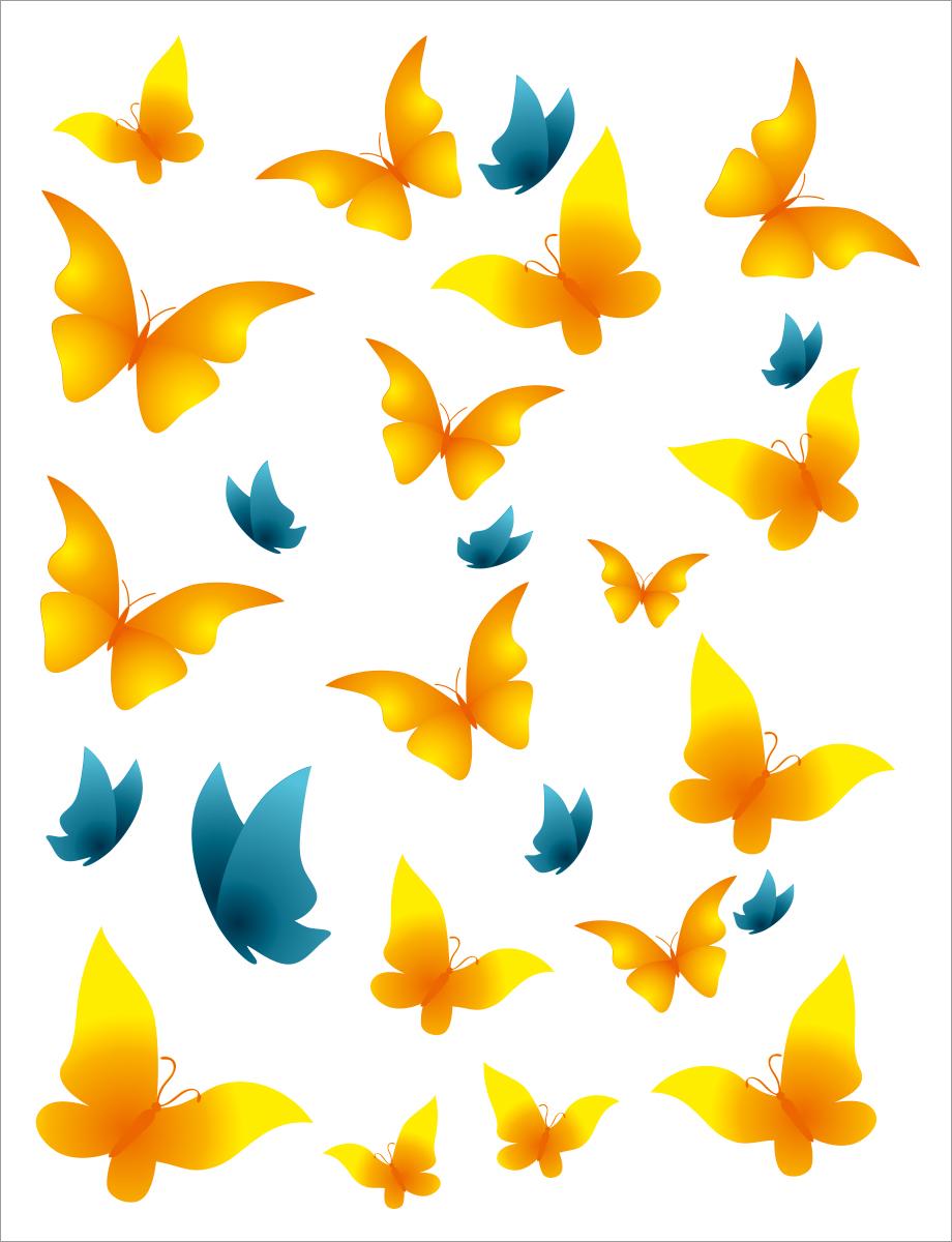 Наклейка декоративная Оранжевый Слоник Бабочки желто-синие, 30 х 25 см