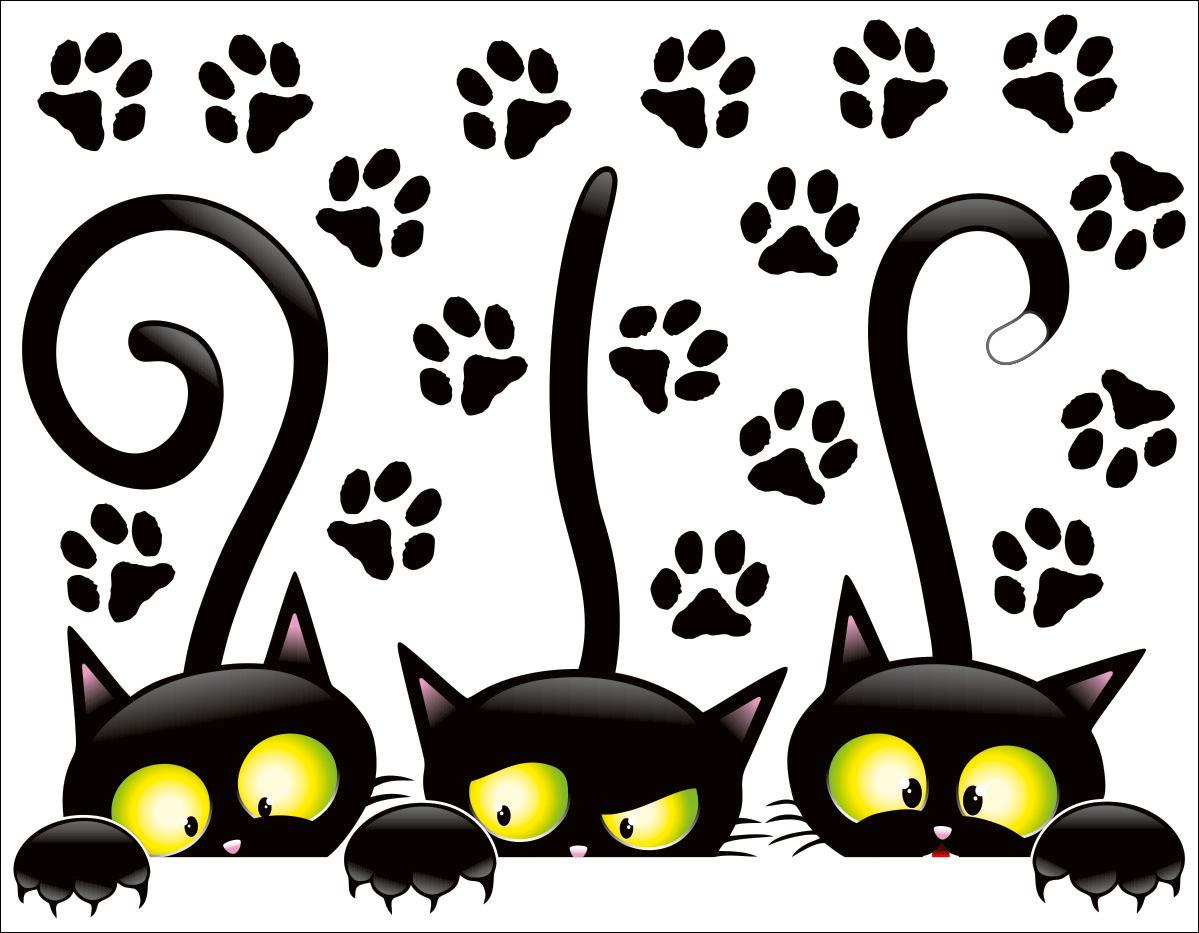 Рисунки черных смешных кошек, поздравления для