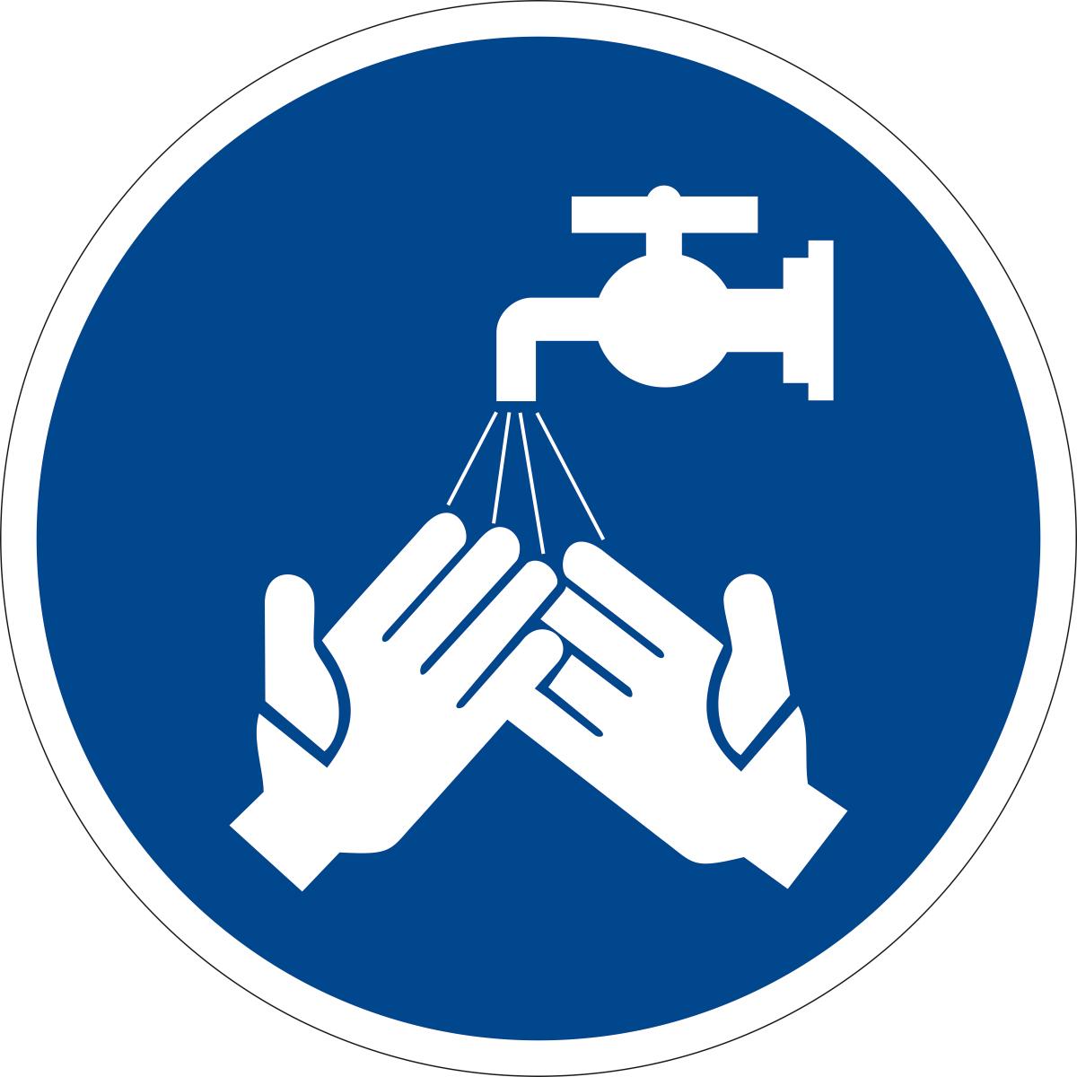 Наклейка информационная Оранжевый Слоник Мыть руки, 15 х 15 см