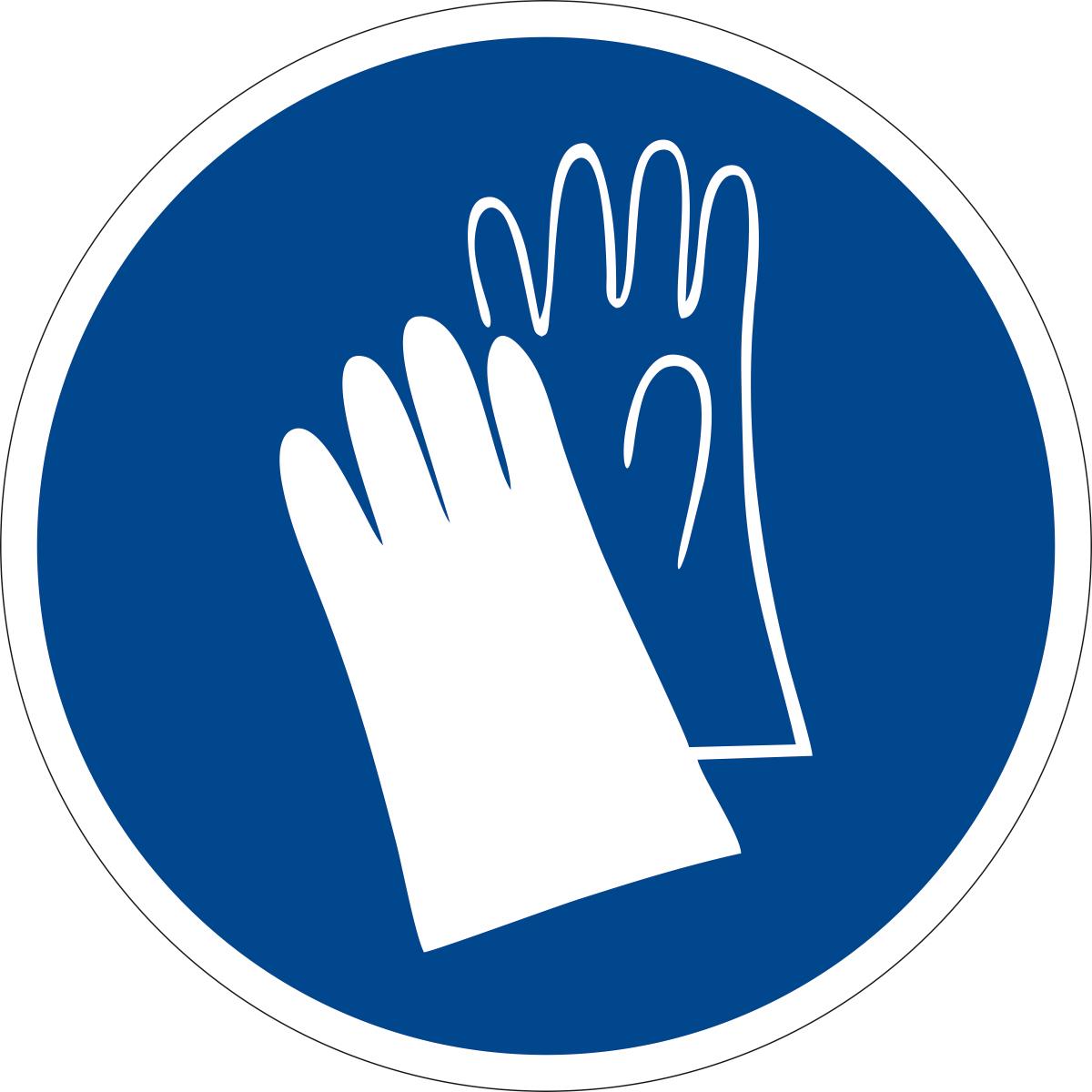 Наклейка информационная Оранжевый Слоник Работать в защитных перчатках, 15 х 15 см