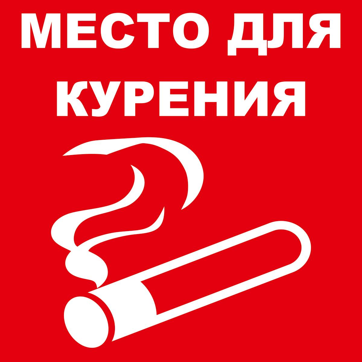 Наклейка информационная Оранжевый Слоник Место курения, 15 х 15 см. INS001RGB