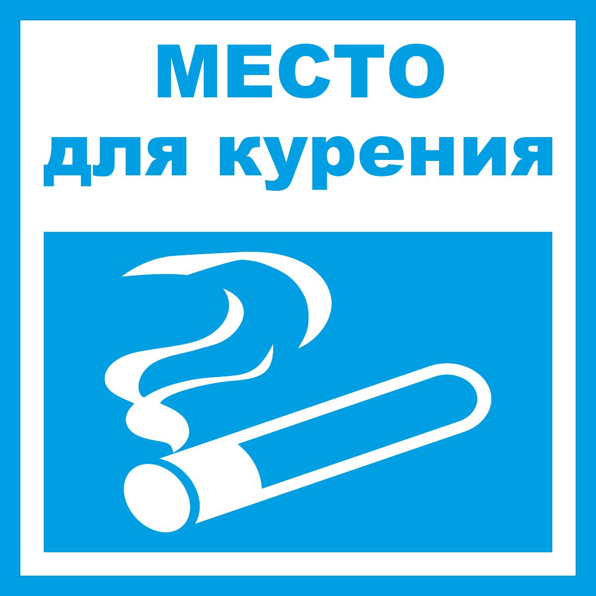 Наклейка информационная Оранжевый Слоник Место курения, 15 х 15 см