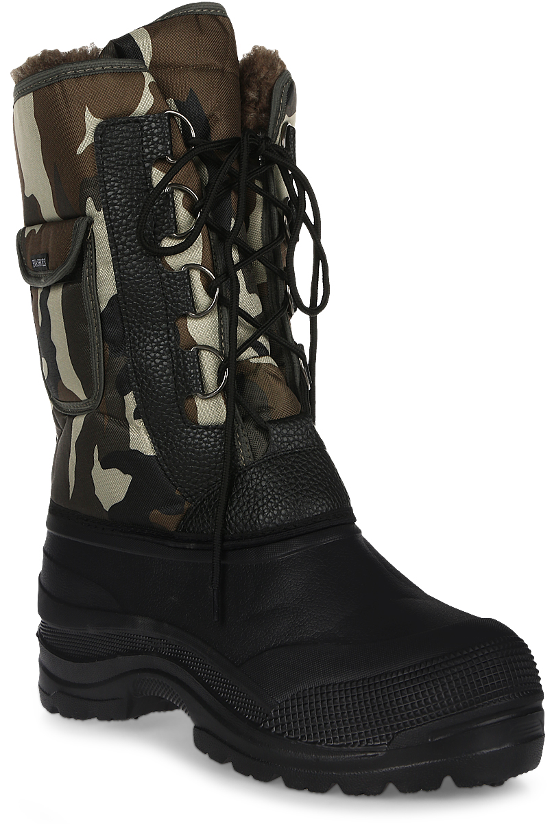 Сапоги зимние EVA Shoes Аляска (-40), цвет: черный, зеленый камуфляж. Размер 4459116Зимние сапоги EVA Shoes Аляска (-40) - это легкая, теплая и удобная обувь для зимней рыбалки и охоты. Галоша выполнена из ЭВА. Голенище изготовлено из прочного оксфорда. Внутри расположен съемный чулок из натурального меха с фольгой и спанбондом. На каждом из сапогов расположен небольшой кармашек на липучке. Шнурки помогают плотно прижимать сапог к ноге.
