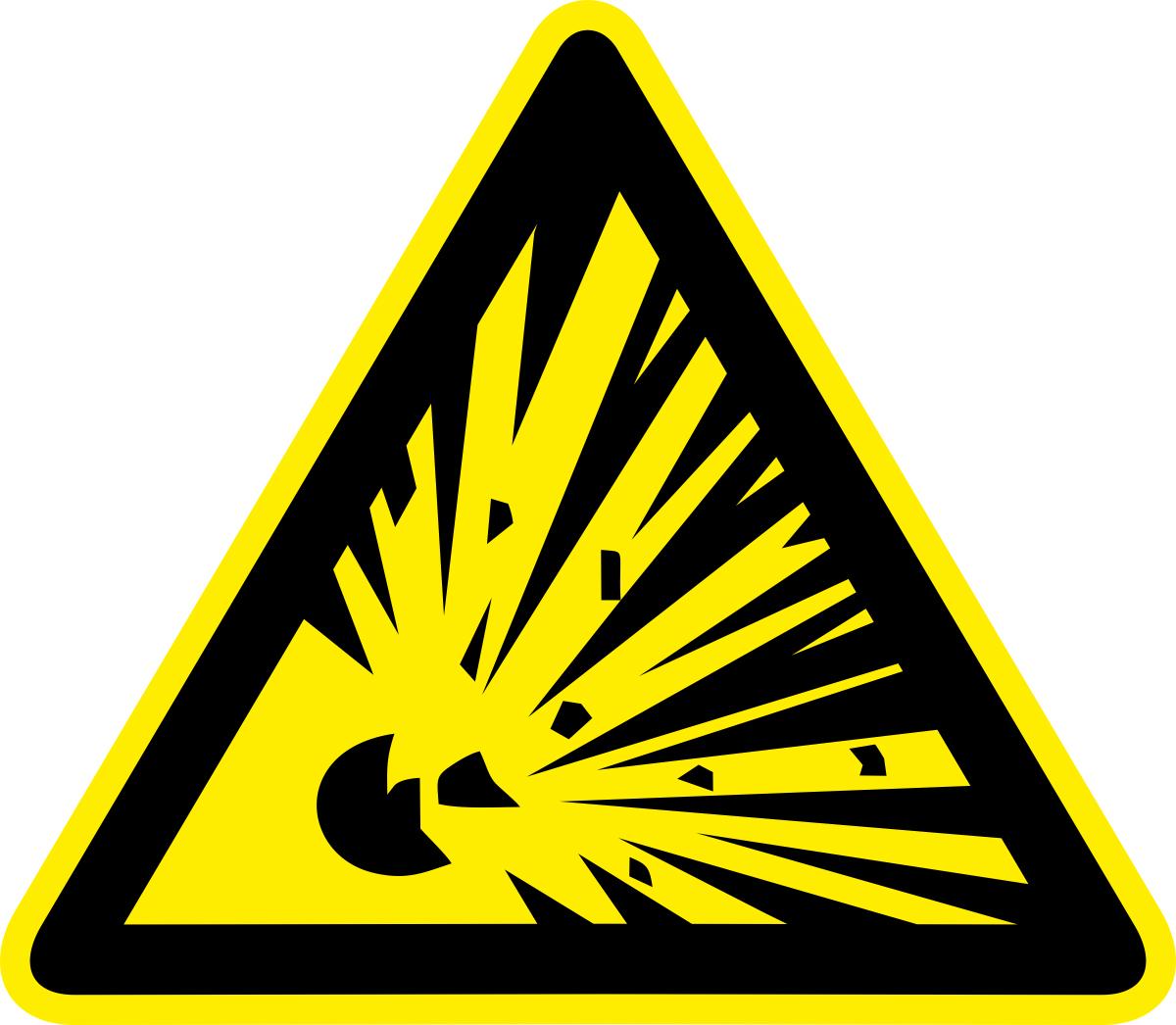 Наклейка информационная Оранжевый Слоник Взрывоопасно, 15 х 15 см