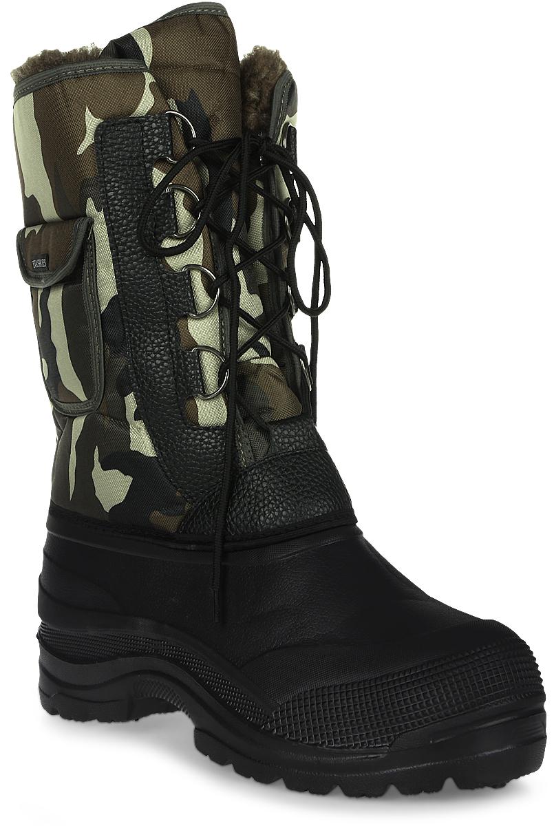 Сапоги зимние EVA Shoes Аляска (-40), цвет: черный, болотный камуфляж. Размер 45