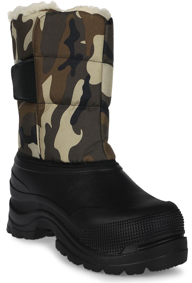 Сапоги зимние EVA Shoes Винсон (-40), цвет: черный, камуфляж. Размер 4559129Легкие и теплые зимние сапоги EVA Shoes Винсон (-40) отлично подойдут для охоты и рыбалки в зимнее время года. Галоша сапог выполнена из этилвинилацетата (ЭВА), это гибкий, эластичный, износостойкий, водонепроницаемый материал, а кроме того, легкий, поэтому сапоги имеют небольшой вес. Верх изготовлен из непромокаемого плотного оксфорда, дублированного поролоном. Подкладка из натурального меха не даст ногам замерзнуть. Специальная рифленая подошва создает отличное сцепление с любой поверхностью. Хлястик на липучке надежно зафиксирует модель на ноге. Обувь предназначена как для сырой холодной погоды, так и для сильных морозов. При активном использовании сапоги обеспечивают высокий уровень тепла и комфорта даже в мороз до -40°С.