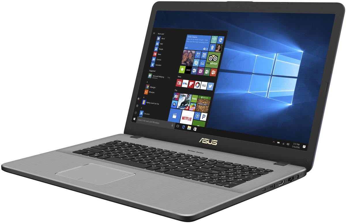 ASUS VivoBook Pro 17 N705UN (N705UN-GC023T)N705UN-GC023TASUS VivoBook Pro 17 – это тонкий и легкий ноутбук с высокопроизводительной аппаратной конфигурацией, в которой используются процессор Intel Core i5 седьмого поколения и видеокарта NVIDIA GeForce MX150. Он прекрасно подходит для мультимедийных приложений благодаря дисплею формата Full HD с расширенным цветовым охватом (100% цветового пространства sRGB) и высококачественной аудиосистеме, разработанной совместно со специалистами фирмы Harman/Kardon.За высокую производительность ноутбука VivoBook Pro 17 отвечает процессор Intel Core i5-7200U седьмого поколения, дополненный 8 гигабайтами оперативной памяти новейшего типа DDR4. VivoBook Pro 17 использует видеокарту NVIDIA GeForce MX150, которая обеспечит высокую производительность в играх, при просмотре фильмов и редактировании видеороликов.Стереодинамики, разработанные в сотрудничестве со специалистами фирмы Harman/Kardon, наделяют этот ноутбук великолепным голосом, причем большие акустические камеры позволяют увеличивать громкость звука без существенных искажений. Чистое и мощное звучание тонкого и легкого мобильного устройства – теперь это возможно!VivoBook Pro 17 оснащается полноразмерной клавиатурой с подсветкой, которая позволяет с удобством использовать этот ноутбук даже в темноте. Комфорту для рук способствует увеличенная глубина хода клавиш – 1,4 мм.В число интерфейсов, реализованных в ноутбуке VivoBook Pro 17, входят USB 3.0, USB 3.1 Gen1, HDMI, а также слот для карт памяти SDXC/SDHC/SD. Представленный обратимым разъемом Type-C, интерфейс USB 3.1 Gen1 обладает пропускной способностью до 5 Гбит/с!Точные характеристики зависят от модификации.Ноутбук сертифицирован EAC и имеет русифицированную клавиатуру и Руководство пользователя.