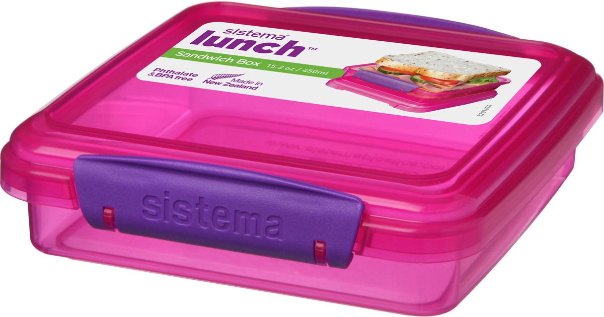 Контейнер для сэндвичей Sistema, цвет: малиновый, 450 мл31646_малиновыйКонтейнер создан для бутербродов и сэндвичей. В него входит стандартный сэндвич или два бутерброда. Компактный контейнер удобно брать с собой на работу или в дорогу. Пластик не выделяет вредных веществ, так как не содержит бисфенол А и фталаты. Специальный дизайн клипс гарантирует, что они не оторвутся как у обычных контейнеров. Уплотнитель в крышке сохраняет свежесть и аромат продуктов. Контейнер не является полностью герметичным, поэтому не рекомендуется для жидкой пищи. Можно мыть в посудомоечной машине.