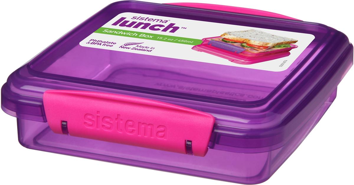 Контейнер для сэндвичей Sistema, цвет: прозрачный фиолетовый, розовый, 450 мл95501Контейнер Sistema, изготовленный из высококачественногопластика, предназначен, для сэндвичей и бутербродов.Изделие плотно и герметично закрывается, благодаря двумзащелкам по бокам и силиконовой прослойке в крышке. Подходит для использования в микроволновой печи и дляхранения в холодильнике. Можно мыть в посудомоечной машине. Размер контейнера (без чета крышки): 14,3 х 14,3 х 3,5 см.