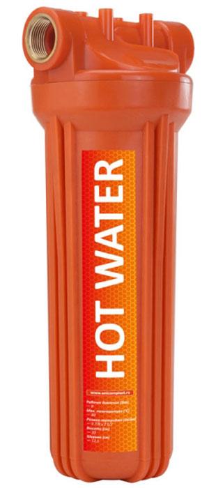 """Корпус фильтра для горячей воды Unicorn """"FH2P HOT"""" используется для фильтрации горячей воды. Широко применяется в системах горячего водоснабжения для защиты сантехники, а также промышленного оборудования.  Корпус 2-составной (крышка и колба), колба фильтра оснащена уплотнительной резинкой для лучшей герметичности, а также клапаном для спуска воздуха. Корпус устойчив к воздействию высоких температур и целого ряда химических соединений.  Предполагает установку стандартных 10"""" картриджей из полипропиленового волокна или полипропиленового шнура для горячей воды.  Высота: 30 см.  Ширина: 12,5 см.  Подключение: 3/4"""".  Размер картриджа: 10x2 1/2"""".  Рабочее давление: 8 бар.  Рабочая температура: 2-80°С.   Уважаемые клиенты! Обращаем ваше внимание на изменения в дизайне товара. Поставка осуществляется в зависимости от наличия на складе."""