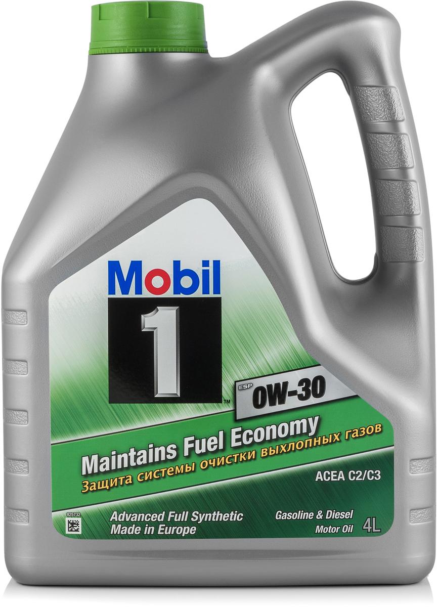 Моторное масло Mobil 1 ESP, 0W-30, 4 л153754Mobil 1 ESP 0W-30 - защита системы очистки выхлопных газов и экономия топливаMobil 1 (ТМ) ESP 0W-30 – полностью синтетическое моторное масло, которое разработано экспертами компании для продления срока службы и поддержания эффективности систем снижения токсичности выхлопных газов автомобилей, оборудованных как дизельными, так и бензиновыми двигателями. • Обеспечивает защиту двигателя при увеличенном интервале замены масла • Обеспечивает низкий расход масла • Способствует экономии топлива • Обеспечивает быстрый запуск двигателя и моментальную защиту при пуске в условиях пониженной температурыСертификации и одобрения -ACEA C2 / C3 -VW 504 00 / 507 00 -MB 229.31 / 229.51 / 229.52 / 229.52-Porsche C30