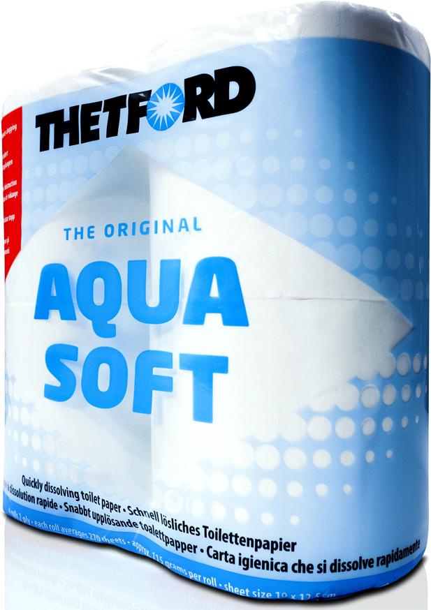 Туалетная бумага ThetFord, двухслойная, для биотуалетов Aqua Soft, 4 рулона порошок для септиков и биотуалетов thetford для биотуалета aqua kem blue sach 12 шт