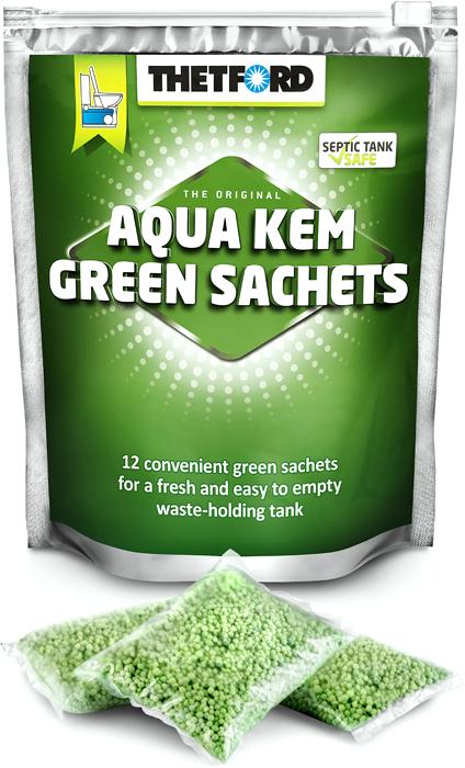 Порошок для септиков и биотуалетов Thetford Aqua Kem Green Sachets, 12 шт жидкость для биотуалета thetford aqua rinse plus в верхний бак розовая объём 1 5л