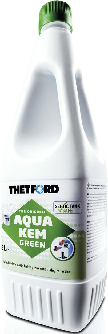 Жидкость для септиков и биотуалетов Thetford АкваКемГрин, 1,5 л жидкость для биотуалета thetford aqua rinse plus в верхний бак розовая объём 1 5л