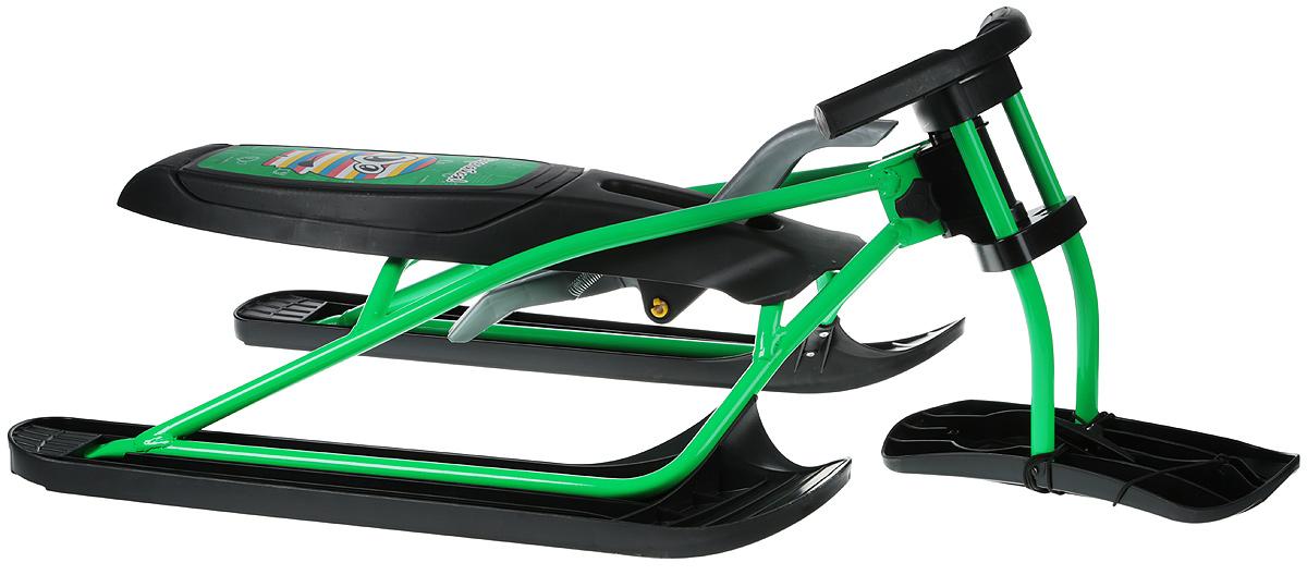 Снегокат складной Цикл Снегоцикл Snow&Fire21661Снегокат Цикл Снегоцикл Snow & Fire вмещает и выдерживает вес ребенка до 100 кг. Складывается и раскладывается за считанные минуты. В сложенном виде легко умещается в багажник. Не занимает много места во время летнего хранения.Прочная стальная конструкция обеспечивает снегокату долгий срок эксплуатации. Низкая посадка и широкая база делают его очень устойчивым во время спуска. Ограничитель поворота на передней лыже предотвращает опрокидывание. Амортизатор сидения защищает от ушибов на кочках. Для торможения предусмотрен ручной тормоз, усиленный металлической пластиной. Спортивный руль, оригинальная форма рамы и современный дизайн в стиле гранж не позволят остаться вашему чаду незамеченным на горке.Размер снегоката: 113 х 60 х 346 см. Габариты в сложенном виде: 87 х 23 х 46 см. Грузоподъемность: до 100 кг.Снегокат предназначен для детей старше 6 лет.