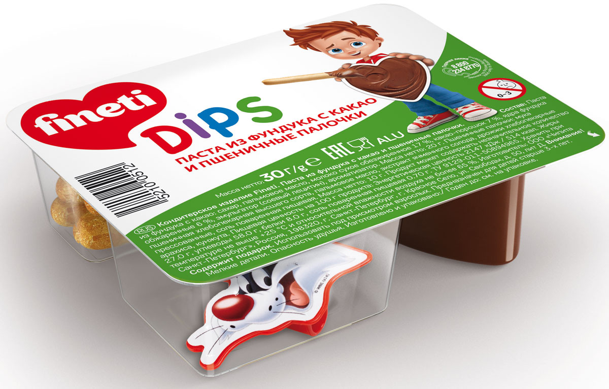 Fineti Dips Паста из фундука с какао и пшеничные палочки, 30 г
