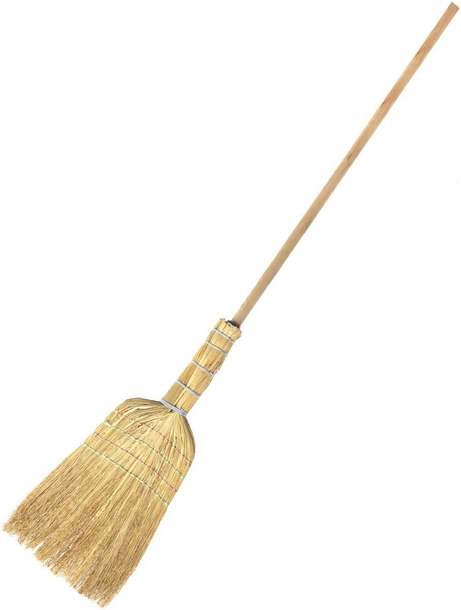 Веник HomeQueen Люкс, цвет: желтый70860Веник сорго прошивной ЛЮКС на длинной ручке незаменимый помощник в уборке любых помещений.