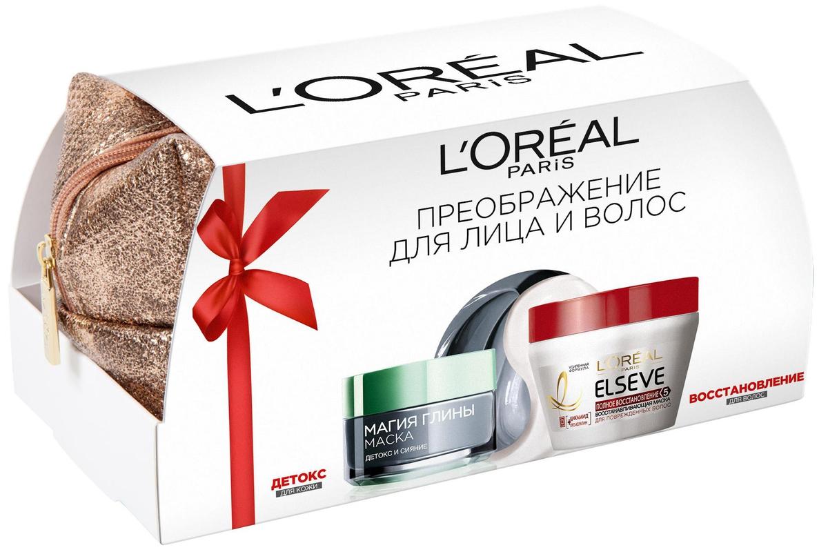 L'Oreal Paris Подарочный набор: Маска для лица Магия Глины Детокс и сияние, для всех типов кожи, 50 мл + Маска для волос Elseve, Полное восстановление 5, 300 мл (-30%) elseve маска для волос 3 ценные глины 150 мл