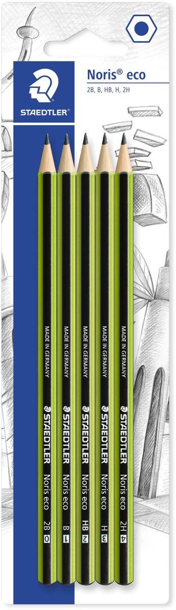 Staedtler Набор чернографитовых карандашей Noris Eco 5 шт18030-SBK5Набор чернографитовых карандашей Noris eco 18030 в блистере. Включает в себя 5 степеней твердости: 2H, H, HB, B, 2B. Диаметр грифеля - 2 мм. Noris eco в зелено-черных полосках сделан из материала Wopex, инновационного композиционного материала от Staedtler из натуральных волокон. Так ценители надежного получают привычное качество вместе с хорошим чувством экологичного письма. Помимо высокой противоломкости eco обеспечивает отличное чувство письма и более длительный срок службы.