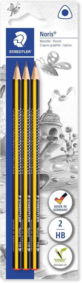 Staedtler Набор чернографитовых карандашей Noris твердость HB 3 шт183-HBBK3Набор чернографитовых карандашей Noris 183, в черно- желтом корпусе, 3 штуки в блистерной упаковке. Привлекательный дизайн Звезды с полем для имени. Трехгранная эргономичная форма для удобного письма, черчения и рисования. Изготовлен из уникального природного материала Wopex (70% древесины + 30% пластиковый композит). Однородный материал WOPEX обеспечивает исключительно гладкую и ровную заточку. При производстве используется PEFC-сертифицированная древесина из постоянно возобновляемых лесов. Степень твердости - HB (твердо-мягкий). Диаметр грифеля - 2 мм. Нескользящая, ударопрочная, бархатистая поверхность; гладкое письмо; длина письма в два раза больше, чем у обычного карандаша в деревянном корпусе.