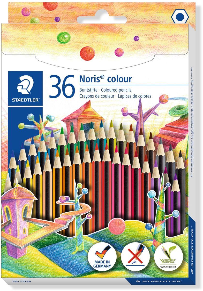 Staedtler Набор цветных карандашей Noris Colour Wopex 36 цветов185CD36Цветные карандаши шестигранной формы Noris Color 185 из инновационного материала Wopex. Сделаны из нового природного волокнистого материала: 70% древесины + пластиковый композит. Высокое качество письма, рисования, эскизов. Нескользящая, бархатистая поверхность; особенно ударопрочный корпус и грифель; диаметр - 3 мм; гладкое письмо. Инновационный, однородный материал Wopex обеспечивает исключительно гладкую и ровную заточку с любым качеством точилки. Текст и рисунки легко стереть. Упаковка - 36 цветов. Карандаши уложены в 2 ряда.