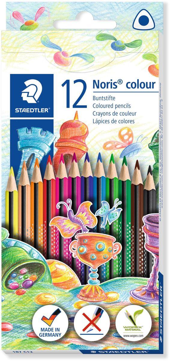 Staedtler Набор цветных карандашей Noris Colour Wopex 12 цветов187C12Цветные карандаши эргономичной трехгранной формы Noris Color 187 из инновационного материала Wopex. Привлекательный дизайн Звезды с полем для имени. Сделаны из нового природного волокнистого материала: 70% древесины + пластиковый композит. Высокое качество письма, рисования, эскизов. Нескользящая, бархатистая поверхность; особенно ударопрочный корпус и грифель; диаметр - 3 мм; гладкое письмо. Инновационный, однородный материал Wopex обеспечивает исключительно гладкую и ровную заточку с любым качеством точилки. Текст и рисунки легко стереть. Упаковка - 12 цветов. Карандаши уложены в 1 ряд.