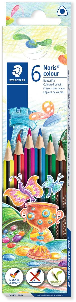 Staedtler Набор цветных карандашей Noris Colour Wopex 6 цветов187C6Цветные карандаши эргономичной трехгранной формы Noris Color 187 из инновационного материала Wopex. Привлекательный дизайн Звезды с полем для имени. Сделаны из нового природного волокнистого материала: 70% древесины + пластиковый композит. Высокое качество письма, рисования, эскизов. Нескользящая, бархатистая поверхность; особенно ударопрочный корпус и грифель; диаметр - 3 мм; гладкое письмо. Инновационный, однородный материал Wopex обеспечивает исключительно гладкую и ровную заточку с любым качеством точилки. Текст и рисунки легко стереть. Упаковка - 6 цветов.