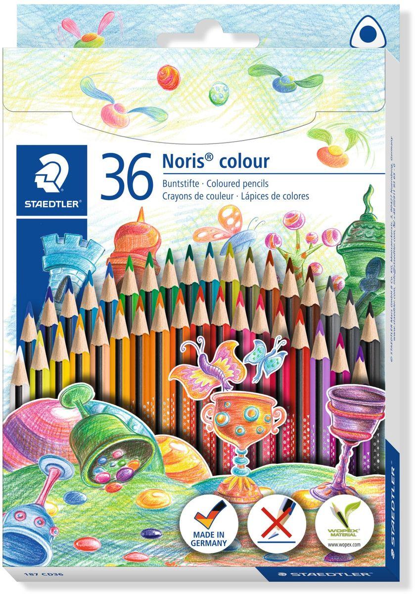 Staedtler Набор цветных карандашей Noris Colour Wopex 36 цветов187CD36Цветные карандаши эргономичной трехгранной формы Noris Color 187 из инновационного материала Wopex. Привлекательный дизайн Звезды с полем для имени. Сделаны из нового природного волокнистого материала: 70% древесины + пластиковый композит. Высокое качество письма, рисования, эскизов. Нескользящая, бархатистая поверхность; особенно ударопрочный корпус и грифель; диаметр - 3 мм; гладкое письмо. Инновационный, однородный материал Wopex обеспечивает исключительно гладкую и ровную заточку с любым качеством точилки. Текст и рисунки легко стереть. Упаковка - 36 цветов. Карандаши уложены в 2 ряда.