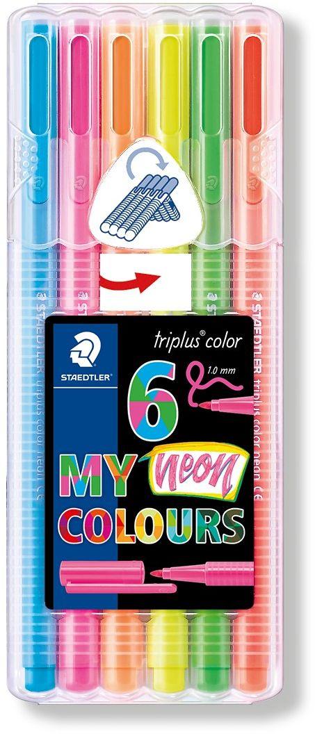 Staedtler Набор фломастеров Triplus Color Неоновые цвета 6 цветов323SB6CS1Набор фломастеров Triplus color 323 серии Мои цвета с эргономичным трехгранным корпусом для легкого и удобного письма и рисования в пластиковой коробке-подставке Staedtler. Идеальны для смешивания цветов с капиллярными ручками 334 и 338 серии. Прочный, устойчивый к нажиму пишущий узел. Защита от высыхания - может быть оставлен без колпачка на несколько дней (тест ISO 554). Вентилируемый колпачок. Чернила на водной основе. Отстирываются с большинства поверхностей. Корпус и колпачок из полипропилена гарантируют долгий срок службы. Толщина линии приблизительно 1,0 мм. 6 неоновых цветов.