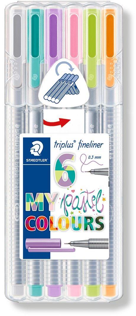 Staedtler Набор капиллярных ручек Triplus Liner Пастельные цвета 6 цветов набор капиллярных ручек brauberg fineliner 4 цвета трехгранный корпус 141524