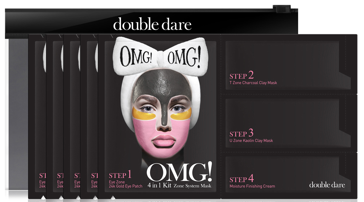 Double Dare OMG! Четырехкомпонентный комплекс масок Система зон, 5 шт011104Четырехкомпонентный комплекс масок СИСТЕМА ЗОН (Double Dare OMG! 4IN1 KIT Zone System Mask).Этот комплекс масок разработан для смешанной кожи. Патчи борются с отеками и темными кругами под глазами. Черная маска с глиной и углем очищает и матирует жирные участки кожи, розовая маска с каолином придает бархатистость сухой коже, финишный крем успокаивает и питает кожу после процедуры.Шаг 1. ПАТЧИ 24К. Мягкие гидрогелевые патчи с 24-каратным золотом питают тонкий эпидермис в области вокруг глаз. Помогают устранить отеки, темные круги, морщинки и заломы. Восстанавливают упругость кожи, обогащают витаминами и дарят молодость взгляду. Способ применения: Положите патчи на область вокруг глаз. Сразу после этого перейдите к шагу 2.Состав: Water, Glycerin, Methylpropanediol, Dipropylene Glycol, 1,2-Hexanedio, Ceratonia Siliqua Gum, Chondrus Crispus (Carrageenan) Extract, Phenoxyethanol, Sucrose, PEG-60 Hydrogenated Castor Oil, Mica, Potassium Chloride, Allantoin, Panthenol, Cellulose Gum, Niacinamide, Sodium Polyacrylate, Iron Oxides, Ethylhexylglycerin, Dipotassium Glycyrrhizate, Citric Acid, Titanium Dioxide, Disodium EDTA, Fragrance, Sodium Citrate, Gold, Butylene Glycol, Mentha Piperita (Peppermint) Leaf Extract, Ethyl Hexanediol, Centella Asiatica Extract, Glutathione.Шаг 2. УГОЛЬ+ГЛИНА. Глиняная маска с содержанием угля предназначена для ухода за Т-зоной. Эффективно очищает, способствует удалению накопленных токсинов, вычищает поры от грязи и излишка кожного сала. Подходит для жирной кожи, склонной к воспалениям.Способ применения: Распределите средство на зоны лица, склонные к жирности. Сразу после этого перейдите к шагу 3. Состав: Water, Kaolin, Bentonite, Hexylene Glycol, Caprylic/Capric Triglyceride, Charcoal Powder, Glycerin, Magnesium Aluminum Silicate, Butylene Glycol, Phaseolus Vulgaris (Kidney Bean) Seed Extract, Glycine Soja (Soybean) Seed Extract, Lens Esculenta (Lentil) Fruit Extract, Pi