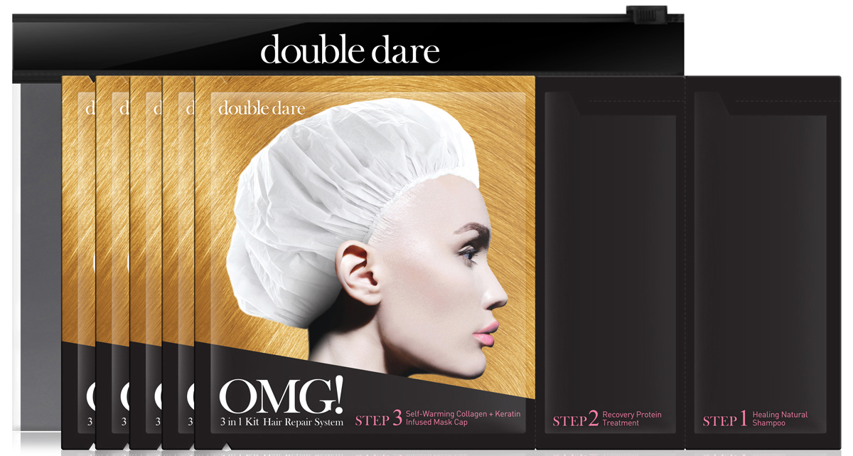 Double Dare OMG! Трехкомпонентный комплекс масок Реанимация волос, 5 шт011111Трехкомпонентный комплекс масок РЕАНИМАЦИЯ ВОЛОС (Double Dare OMG! 3IN1 KIT HAIR REPAIR SYSTEM).Эта маска разработана для окрашенных, сильно поврежденных волос. Гидролизованный кератин и коллаген, подкрепленные жирными кислотами и маслами призваны придать волосам блеск и плотность. Фишка этого комплекса – коллагеновая шапочка, которая разогревается естественным образом и усиливает восстанавливающие компоненты маски.Шаг 1. НАТУРАЛЬНЫЙ ШАМПУНЬ. Оздоравливающий шампунь содержит 98,6% натуральных природных компонентов. Обогащен протеиновым комплексом, BHA-кислотами (салициловая кислота), содержит экстракт кокоса, лаванды и масло розмарина. Обогащает волосы и эпителий головы питательными веществами, убирает излишки кожного себума и загрязнения. Способ применения: Нанесите равномерно на волосы и помассируйте. Смойте теплой водой и отожмите излишки влаги. Затем переходите к шагу 2.Состав: Water, Sodium Cocoyl Glutamate, Cocamidopropyl Betaine, Chamaecyparis obtusa water, Cocamide MEA, Polyquater-nium-10, Lavandula Angustifolia (Lavender) Oil, Rosmarinus Officinalis (Rosemary) Leaf Oil, Camellia Sinensis Leaf Extract, Hydrolyzed Collagen, Hydrolyzed Keratin, Glycerin, 1,2-Hexanediol, Salicylic Acid.Шаг 2. ПРОТЕИНОВАЯ МАСКА. Восстанавливающая протеиновая маска для глубоко поврежденных волос. Обогащена гидролизованным кератином, коллагеном, жирными кислотами и комплексом омега 3,6,7, аргановым маслом и витамином Е для питания и защиты структуры волос. Маска помогает устранить нежелательную пушистость прядей, облегчает расчесывание и делает волосы сияющими и упругими. Способ применения: Равномерно распределите протеиновую маску массажными движениями от корней к кончикам. Затем переходите к шагу 3.Состав: Water, Hydrolyzed Collagen, Propylene Glycol, Alcohol, Amodimethicone , Cetrimonium Chloride, Trideceth-12, Hydrolyzed Keratin, PEG-60 Hydrogenated Castor Oil, Hydroxyethylcellulose, Perfume, Phenoxye