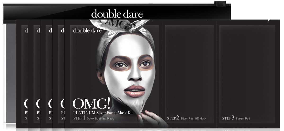 Double Dare OMG! Platinum Трехкомпонентный комплекс масок Активный лифтинг и восстановление, 5 шт42507Трехкомпонентный комплекс масок АКТИВНЫЙ ЛИФТИНГ И ВОССТАНОВЛЕНИЕ (Double Dare OMG! Platinum SILVER Facial Mask Kit).Этот комплекс масок обладает выраженным лифтинг-эффектом. Отшелушивает омертвевшие клетки кожи, придавая гладкость и подтянутость. Идеально подойдет для возрастной, увядающей кожи.Шаг 1. ДЕТОКС ПУЗЫРЬКИ. Эта тканевая маска дает пышную пену при нанесении на лицо. Так детокс-пузырьки очищают и питают кожу кислородом. Способ применения: 1) Нанесите кислородную детокс-маску на кожу лица. Предварительно можно очистить кожу от макияжа или нанести маску поверх макияжа;2) После нанесения маски образуется пена, которая насыщает кожу кислородом, а нежные ПАВ очищают кожу. Оставьте маску на 1-3 минуты;3) Удалите маску вместе с остатками макияжа. Тщательно промойте кожу водой и промокните лицо полотенцем.Состав: Water, Glycerin, Cocamidopropyl Betaine, Dipropylene Glycol, Disiloxane, Methyl Perfluorobutyl Ether, Water, Methyl Perfluoroisobutyl Ether, Butylene Glycol, Sodium Cocoyl Apple Amino Acids, Hexylene Glycol, Hydroxyethylcellulose, 1,2-Hexanediol, Sodium Chloride, Ethylhexylglycerin, Disodium EDTA, Phenoxyethanol, Fragranceradian.Шаг 2. МАСКА-ПЛеНКА АКТИВНЫЙ ЛИФТИНГ И ВОССТАНОВЛЕНИЕ. Маска-пленка для лица и шеи превосходно очищает эпидермис от ороговевших клеток. Оказывает активное лифтинговое воздействие, борется с одутловатостью за счет лимфодренажного эффекта. Уникальная формула геля превращается в маску-пленку, которая стимулирует регенерацию клеток (алмазная и жемчужная пудра) и оказывает активное противовоспалительное и увлажняющее воздействие. Подходит для кожи с первыми признаками увядания. Способ применения:1) Распределите маску по зоне лица и шеи тонким ровным слоем, (избегайте зону вокруг глаз).2) Примите горизонтальное положение для лимфодренажного эффекта. Оставьте маску на 20-30 мин до полного высыхания.3) Снимите маску, подцепив ее за край.С