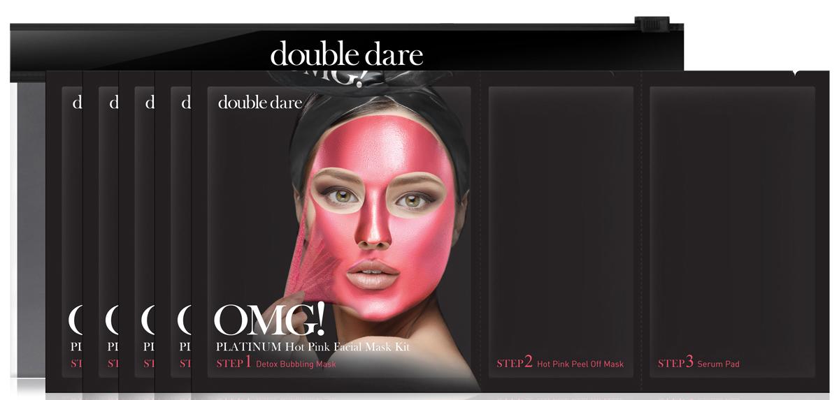 Double Dare OMG! Platinum Трехкомпонентный комплекс масок Сияние и ровный тон, 5 шт012026Трехкомпонентный комплекс масок СИЯНИЕ И РОВНЫЙ ТОН (Double Dare OMG! Platinum HOT PINK Facial Mask Kit).Этот комплекс масок придает коже сияние и свежесть благодаря натуральным маслам и экстрактам лечебных растений. Дает коже глубокое увлажнением, питание и способствует выравниванию тона и микрорельефа кожи.Шаг 1. ДЕТОКС ПУЗЫРЬКИ. Эта тканевая маска дает пышную пену при нанесении на лицо. Так детокс-пузырьки очищают и питают кожу кислородом.Способ применения: 1) Нанесите кислородную детокс-маску на кожу лица. Предварительно можно очистить кожу от макияжа или нанести маску поверх макияжа;2) После нанесения маски образуется пена, которая насыщает кожу кислородом, а нежные ПАВ очищают кожу. Оставьте маску на 1-3 минуты;3) Удалите маску вместе с остатками макияжа. Тщательно промойте кожу водой и промокните лицо полотенцем. Состав: Water, Glycerin, Cocamidopropyl Betaine, Dipropylene Glycol, Disiloxane, Methyl Perfluorobutyl Ether, Water, Methyl Perfluoroisobutyl Ether, Butylene Glycol, Sodium Cocoyl Apple Amino Acids, Hexylene Glycol, Hydroxyethylcellulose, 1,2-Hexanediol, Sodium Chloride, Ethylhexylglycerin, Disodium EDTA, Phenoxyethanol, Fragranceradian.Шаг 2. МАСКА-ПЛеНКА СИЯНИЕ И РОВНЫЙ ТОН. Маска-пленка для лица и шеи превосходно очищает эпидермис от ороговевших клеток. Подтягивает кожу, борется с одутловатостью за счет лимфодренажного эффекта. Уникальная формула геля превращается в маску-пленку, которая борется с воспалениями (пеларгония), тонизирует и придает коже сияние (роза). Способствует выравниванию тона и микрорельефа кожи. Подходит для всех типов кожи.Способ применения:1) Распределите маску по зоне лица и шеи тонким ровным слоем, (избегайте зону вокруг глаз).2) Примите горизонтальное положение для лимфодренажного эффекта. Оставьте маску на 20-30 мин до полного высыхания.3) Снимите маску, подцепив ее за край.Состав: Water, Polyvinyl Alcohol, Alcohol, Dipropylene Glycol