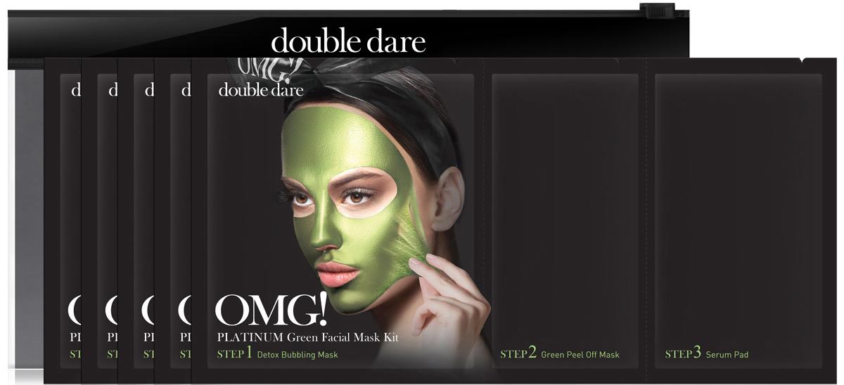 Double Dare OMG! Platinum Трехкомпонентный комплекс масок Увлажнение и себоконтроль, 5 шт012033Трехкомпонентный комплекс масок УВЛАЖНЕНИЕ И СЕБОКОНТРОЛЬ (Double Dare OMG! Platinum GREEN Facial Mask Kit).Этот комплекс обладает отшелушивающим, лифтинговым и увлажняющим эффектом. Фишка зеленой маски-пленки в дополнительном увлажняющем и себорегулирующем эффекте. Разработано для жирной обезвоженной кожи.Шаг 1. ДЕТОКС ПУЗЫРЬКИ. Эта тканевая маска дает пышную пену при нанесении на лицо. Так детокс-пузырьки очищают и питают кожу кислородом.Способ применения: 1) Нанесите кислородную детокс-маску на кожу лица. Предварительно можно очистить кожу от макияжа или нанести маску поверх макияжа;2) После нанесения маски образуется пена, которая насыщает кожу кислородом, а нежные ПАВ очищают кожу. Оставьте маску на 1-3 минуты;3) Удалите маску вместе с остатками макияжа. Тщательно промойте кожу водой и промокните лицо полотенцем.Состав: Water, Glycerin, Cocamidopropyl Betaine, Dipropylene Glycol, Disiloxane, Methyl Perfluorobutyl Ether, Water, Methyl Perfluoroisobutyl Ether, Butylene Glycol, Sodium Cocoyl Apple Amino Acids, Hexylene Glycol, Hydroxyethylcellulose, 1,2-Hexanediol, Sodium Chloride, Ethylhexylglycerin, Disodium EDTA, Phenoxyethanol, FragranceradianШаг 2. МАСКА-ПЛеНКА УВЛАЖНЕНИЕ И СЕБОКОНТРОЛЬ. Маска-пленка для лица и шеи очищает эпидермис от ороговевших клеток. Подтягивает кожу, борется с одутловатостью за счет лимфодренажного эффекта. Уникальная формула геля превращается в маску-пленку, матирует кожу (хлорелла) и увлажняет ее (ламинария). Восстанавливает pH кожи, повышает упругость и эластичность. Подходит для жирной обезвоженной кожи, усталой кожи, кожи курильщиков. Способ применения:1) Распределите маску по зоне лица и шеи тонким ровным слоем, (избегайте зону вокруг глаз).2) Примите горизонтальное положение для лимфодренажного эффекта. Оставьте маску на 20-30 мин до полного высыхания.3) Снимите маску, подцепив ее за край. Состав: Water, Polyvinyl Alcohol, Alcohol, Dipr
