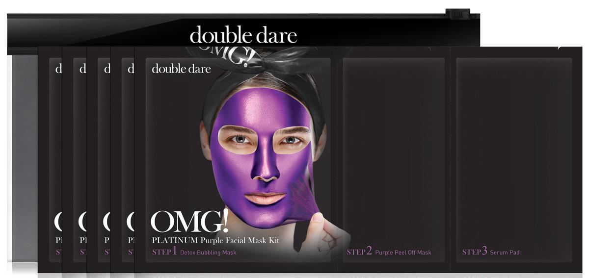 Double Dare OMG! Platinum Трехкомпонентный комплекс масок Глубокое увлажнение и релакс, 5 шт012022Трехкомпонентный комплекс масок ГЛУБОКОЕ УВЛАЖНЕНИЕ И РЕЛАКС (Double Dare OMG! Platinum PURPLE Facial Mask Kit).Этот комплекс масок регулирует водный баланс кожи, образуя на ее поверхности защитную пленку, активно увлажняет и питает. Эта маска подойдет для нормальной и сухой кожи, уберет следы усталости, придаст свежесть и гладкость коже лица.Шаг 1. ДЕТОКС ПУЗЫРЬКИ. Эта тканевая маска дает пышную пену при нанесении на лицо. Так детокс-пузырьки очищают и питают кожу кислородом.Способ применения: 1) Нанесите кислородную детокс-маску на кожу лица. Предварительно можно очистить кожу от макияжа или нанести маску поверх макияжа;2) После нанесения маски образуется пена, которая насыщает кожу кислородом, а нежные ПАВ очищают кожу. Оставьте маску на 1-3 минуты;3) Удалите маску вместе с остатками макияжа. Тщательно промойте кожу водой и промокните лицо полотенцем.Состав: Water, Glycerin, Cocamidopropyl Betaine, Dipropylene Glycol, Disiloxane, Methyl Perfluorobutyl Ether, Water, Methyl Perfluoroisobutyl Ether, Butylene Glycol, Sodium Cocoyl Apple Amino Acids, Hexylene Glycol, Hydroxyethylcellulose, 1,2-Hexanediol, Sodium Chloride, Ethylhexylglycerin, Disodium EDTA, Phenoxyethanol, Fragranceradian.Шаг 2. МАСКА-ПЛеНКА ГЛУБОКОЕ УВЛАЖНЕНИЕ И РЕЛАКС. Маска-пленка для лица и шеи очищает эпидермис от ороговевших клеток. Подтягивает кожу, борется с одутловатостью за счет лимфодренажного эффекта. Уникальная формула геля превращается в маску-пленку, которая борется с воспалениями (голубика), глубоко увлажняет (шелковица) и регулирует водный баланс кожного покрова, образуя на его поверхности защитную пленку. Подходит для нормальной и обезвоженной кожи.Способ применения:1) Распределите маску по зоне лица и шеи тонким ровным слоем, (избегайте зону вокруг глаз).2) Примите горизонтальное положение для лимфодренажного эффекта. Оставьте маску на 20-30 мин до полного высыхания.3) Снимите маску, под