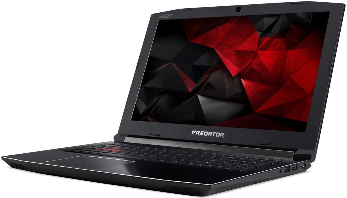 Acer Predator Helios 300 G3-572-70JM, BlackG3-572-70JMМощный ноутбук Acer Predator Helios 300 G3 погрузит вас в самое пекло игровых сражений.Если корпус черного цвета с красными деталями еще не приковал ваш взгляд - тогда проведите по нему рукой и почувствуйте текстуру металла.Ультратонкий (0,1 мм) металлический вентилятор AeroBlade 3D имеет улучшенную аэродинамику и обеспечивает превосходный обдув для охлаждения системы.Плоские поверхности и острые грани придают черно-красному корпусу агрессивный вид.Продуманная конструкция вентиляционных каналов гарантирует отличное охлаждение и отлично смотрится.Бороться с соперниками помогут новейший процессор Intel Core 7-го поколения и графика NVIDIA GeForce GTX 1050 Ti. Ноутбуки с графическими картами NVIDIA GeForce серии GTX 10 основанные на архитектуре NVIDIA Pascal это идеальный выбор для игр с графикой высокого разрешения.Благодаря красной подсветке клавиш вы сможете играть в любое время и в любом месте.Специальное приложение PredatorSense от Acerпозволит контролировать и настраивать различные игровые параметры.Точные характеристики зависят от модели.Ноутбук сертифицирован EAC и имеет русифицированную клавиатуру и Руководство пользователя
