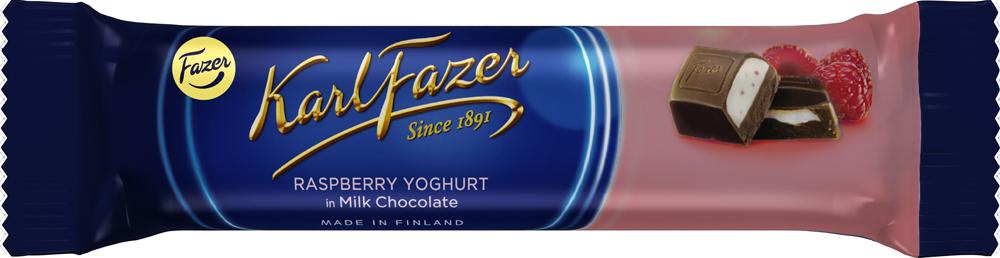 Karl Fazer батончик из молочного шоколада с начинкой из малинового йогурта, 37 г karl fazer julia конфеты темный шоколад с ананасово абрикосовым мармеладом 350 г